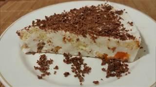 Рецепт. Торт - суфле с бисквитом и фруктами. Крем-желе. Вкусный и легкий в приготовлении