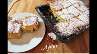 Nefis Raventli Tepsi keki tarifi I Rhabarber Kuchen Rezept