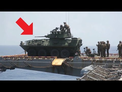 Light Armored Vehicle (LAV-25) Used As Deck Cannon To Fire From Amphibious Assault Ship