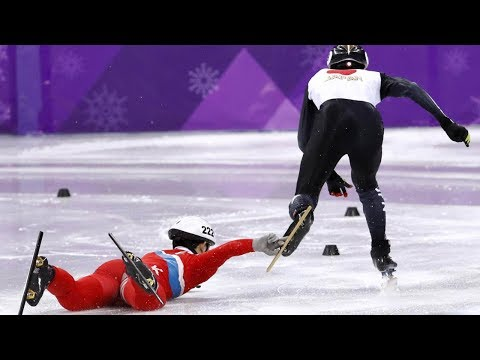 North Korean Olympic Speed Skater Intentionally TRIPS Opponent After Falling to the Ice