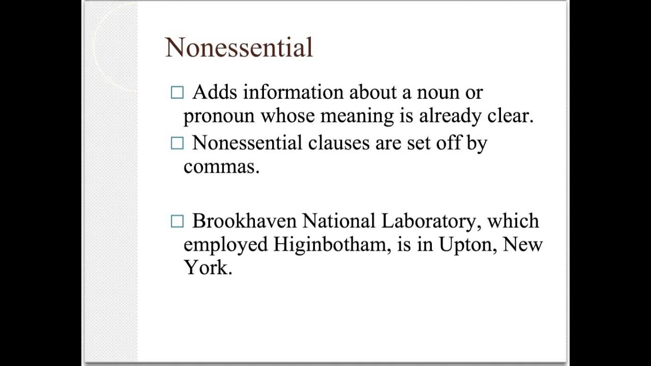 Essential vs Nonessential Clauses - YouTube