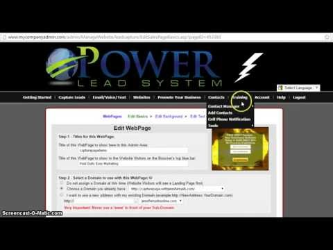The Power Lead System How to Connect Your Subdomain to a Page you created or a web page