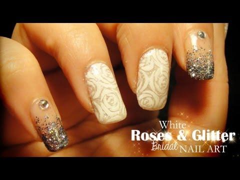 White Roses & Glitter Bridal nail art
