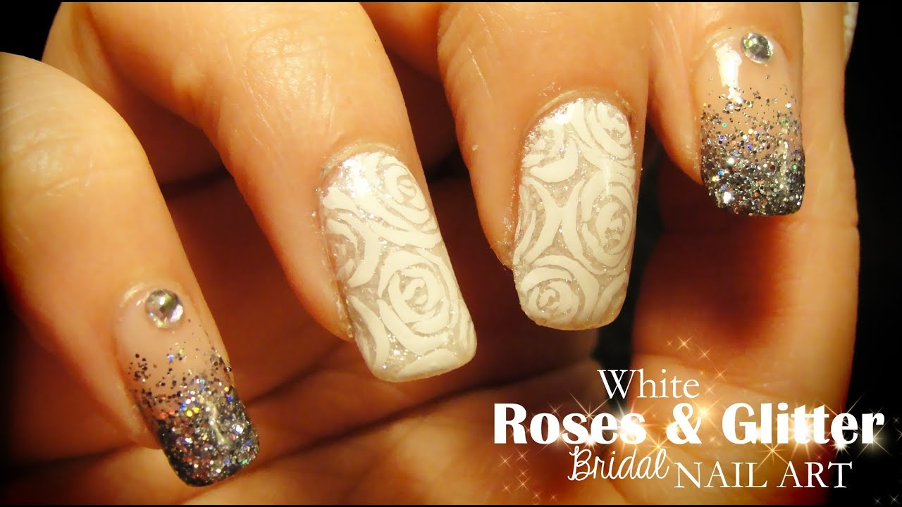 White Roses Glitter Bridal Nail Art Youtube