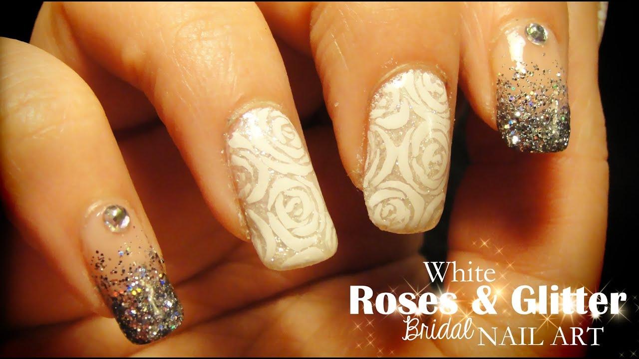 white roses & glitter bridal nail