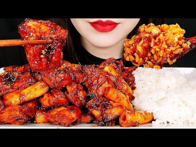 MUKBANG ASMR SPICY SEASONED CHICKEN & COOKED RICE 지코바 양념치킨 치밥 먹방 咀嚼音 チキン EATING SOUNDS NO TALKING
