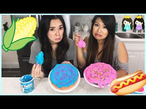 Thumbnail: CAKE CHALLENGE! Messy Taste Test Giant Strawberry Candy Cake Decorating Challenge In Real Life IRL