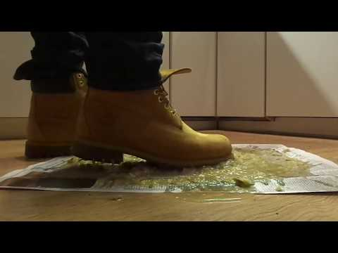 Timberland boots food stomp, trample pears to juice