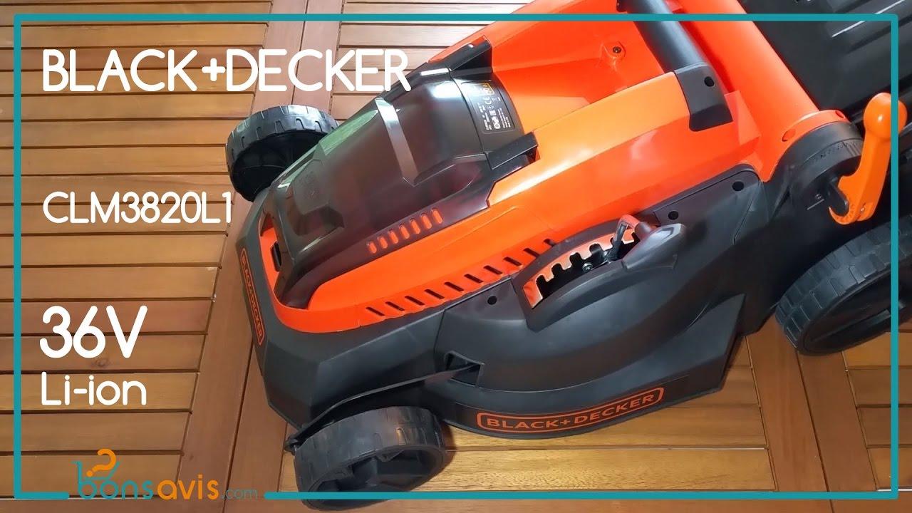 black decker clm3820l1 tondeuse sans fil li ion 36v 38 cm cordless lawnmower youtube. Black Bedroom Furniture Sets. Home Design Ideas