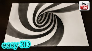 Иллюзия 3D воронка   Простой рисунок(Нарисуй потайной коридор воронку ! Простая 3D Иллюзия . 3D drawings are simple. ПРОСТЫЕ 3D рисунки - http://www.youtube.com/playlist?list=PL..., 2016-06-18T18:23:58.000Z)
