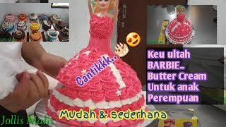 Kue Ulang Tahun Barbie Butter Cream Cantik Sederhana Dan Cara Hiasnya Cake Bearby Tutorial Youtube