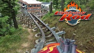 Lightning Rod Updated HD Front Seat On Ride POV & Review. RMC Launched Wood Coaster at Dollywood!!!