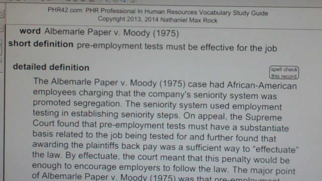 Albemarle Paper v. Moody (1975) PHR SPHR Professional In