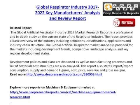 Respirator Industry: 2017 Global Market Outlook, Demand Supply and 2022 Forecasts