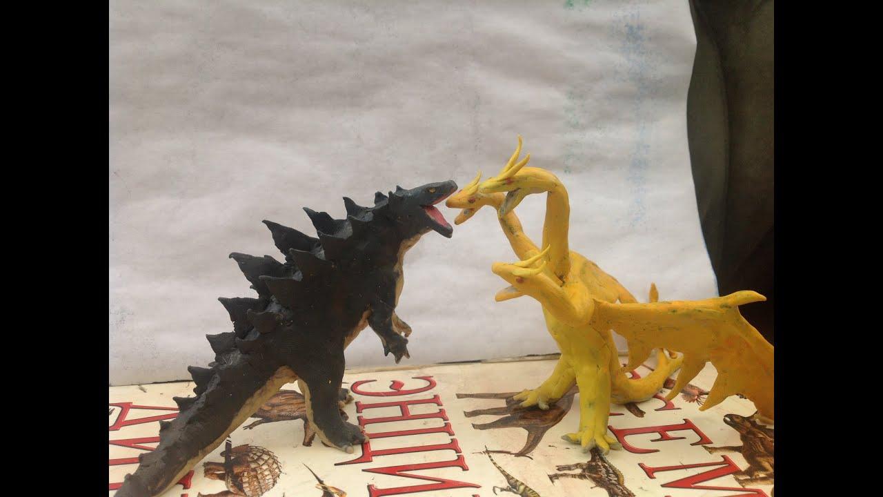Godzilla Vs King Ghidorah Kaiju Claymation Fight Youtube