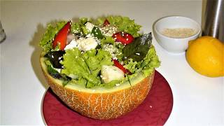 Салат в дыне,так вкусно.Как приготовить.Salad in melon, so delicious. How to cook