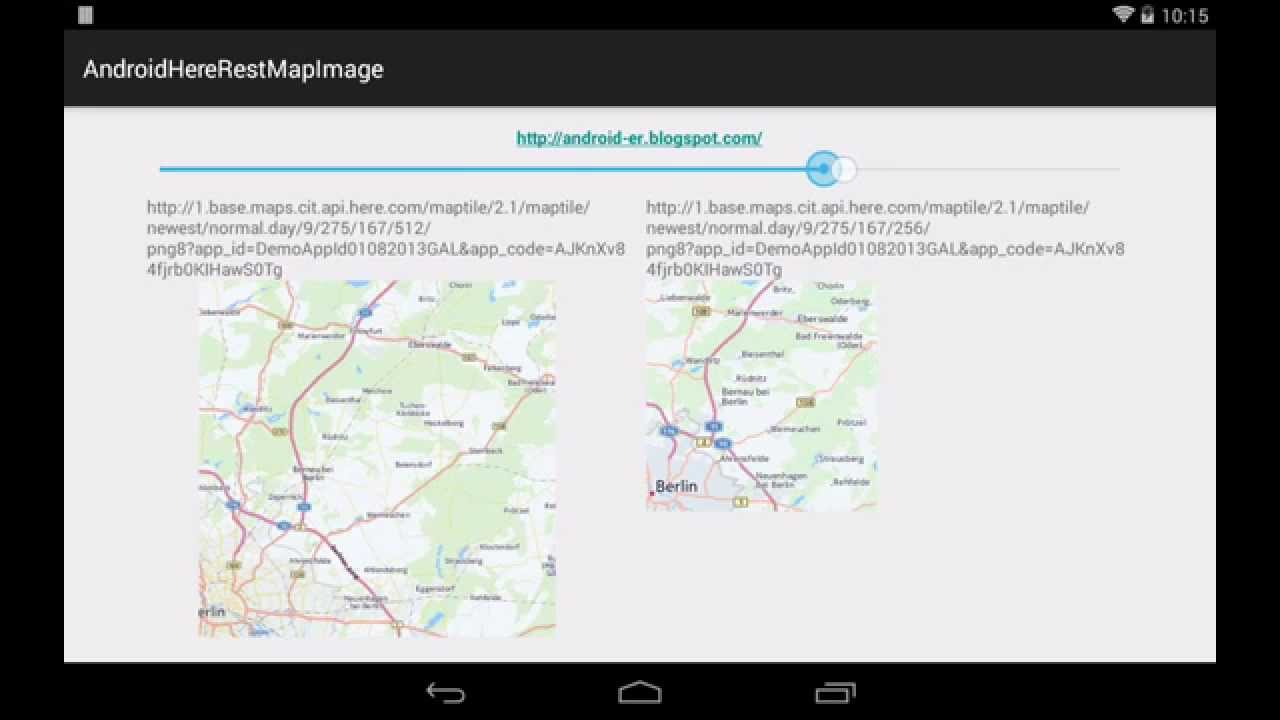 Example of using Here Map Tile REST API on Android