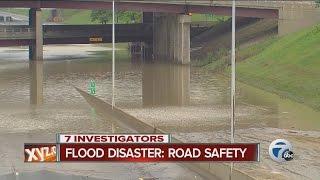 Flood damage in metro Detroit, road safety