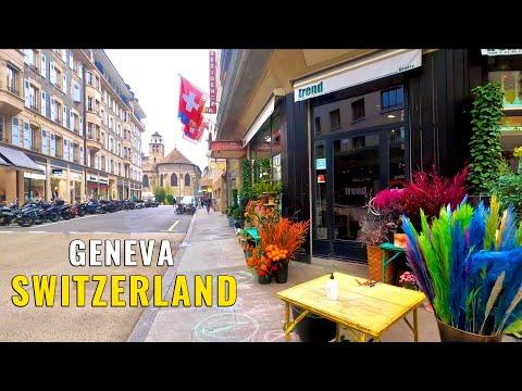 Geneva Switzerland Walking Tour 4k.