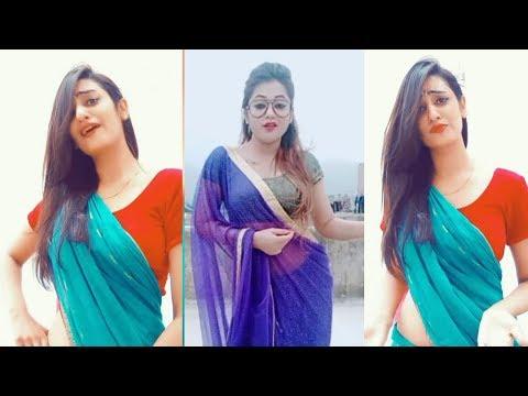 Indian Saree Milf Aunty Navel Show Dance | Beautiful Indian Curvy Model Saree Photoshoot