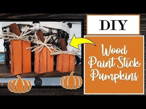 DIY--WOOD PAINT STICK PUMPKINS