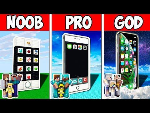 Minecraft NOOB vs PRO vs HACKER vs GOD: FAMILY BLOCK IPHONE PRESENT in Minecraft | Animation