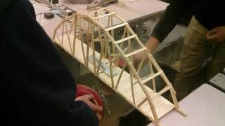 Skip to 3:08 to see it break. This bridge weighed 377g and held a load of up to 104.3kg loaded at the center point. Tips for future