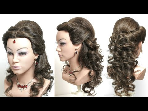 3 Indian  Hairstyles With Curls And Tikka For Long Hair