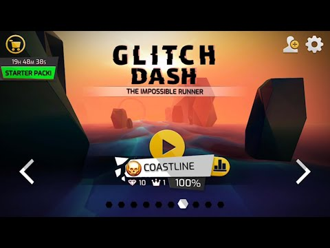Glitch Dash: Level - COASTLINE (Perfect Run,100%,All Diamonds,Crowns) IOS Gameplay Walkthrough (HD)