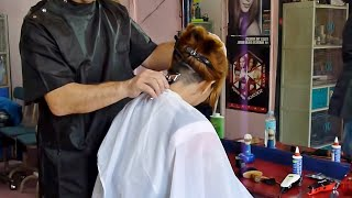 Barbershop girl buzzcut and shave