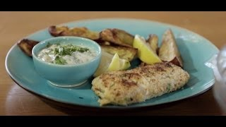 Crumbed Fish And Baked Sweet Potato Chips With Flora Pro-activ