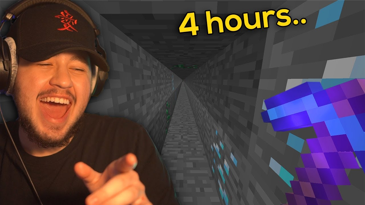 Mining in a Straight Line for 4 HOURS | Hardcore Minecraft #2
