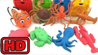 Kid -Kids -Making SEA Animal Shapes With Molds In Colorful Kinetic sand/Animal Bath Toys Magic/ Saf