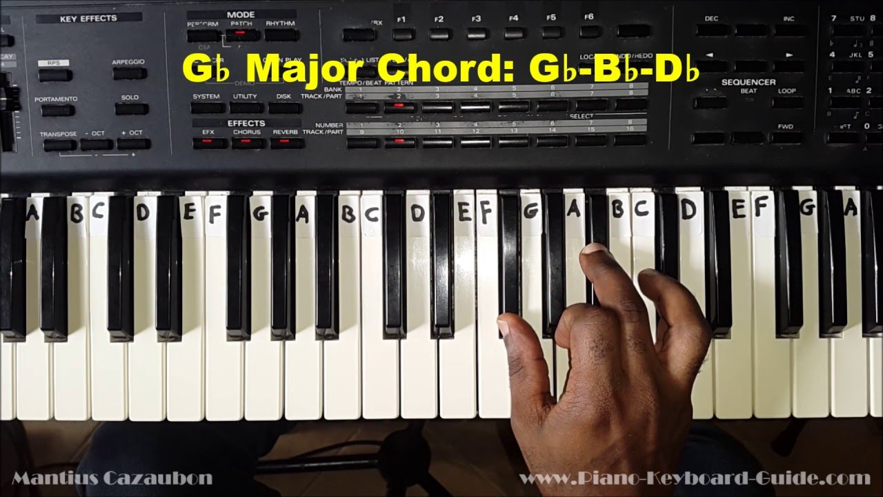 How to Play the G Flat Major Chord on Piano and Keyboard - Gb - YouTube