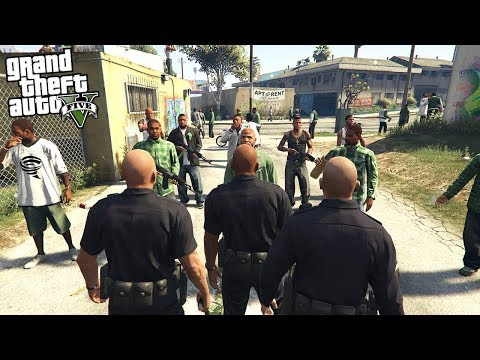 COPS CONFRONT A GANG IN THEIR NEIGHBORHOOD IN GTA 5!!! (GTA 5 REAL LIFE PC MOD) thumbnail