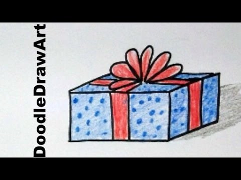 Drawing how to draw a cartoon christmas gift easy youtube negle Gallery