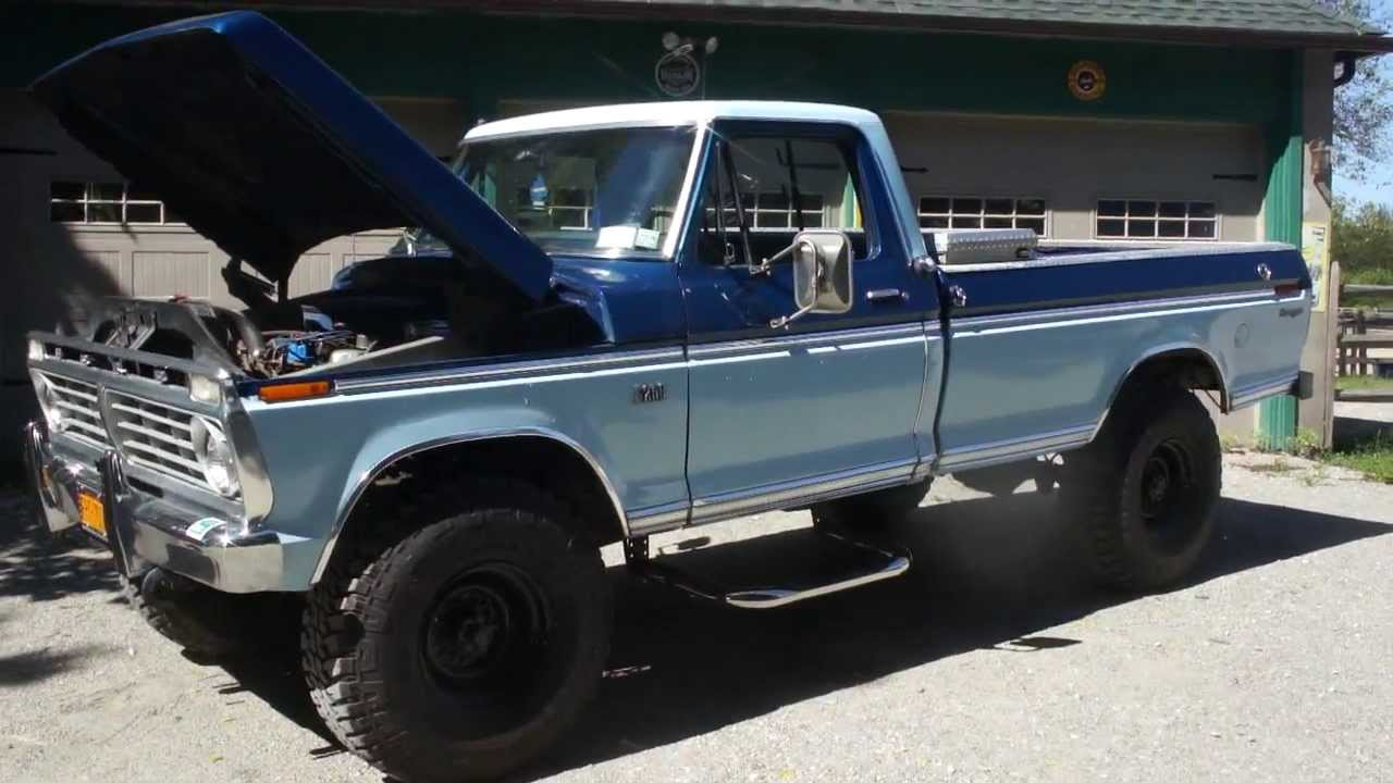 just sold 1975 ford f250 high boy ranger 4x4 for sale new hummer tires runs awesome youtube [ 1280 x 720 Pixel ]