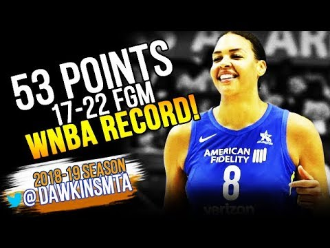 Liz Cambage UNREAL WNBA RECORD 53 Pts 2018.07.17 Wings vs Liberty - 53 Pts, 17-22 FGM!