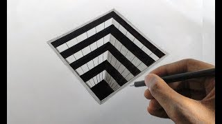 How to draw a 3d square hole very easily/ 3d Drawing on paper 04