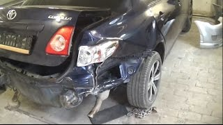 Toyota Corolla ремонт заднего крыла. часть I