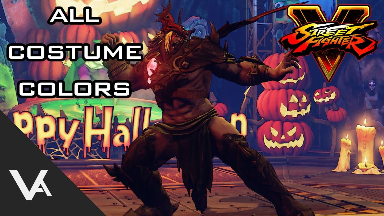 Street Fighter V / 5 - All Halloween Costumes And Colors - YouTube