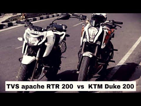 Tvs Apache Rtr 200 4v Vs Ktm Duke 200 Video Youtube