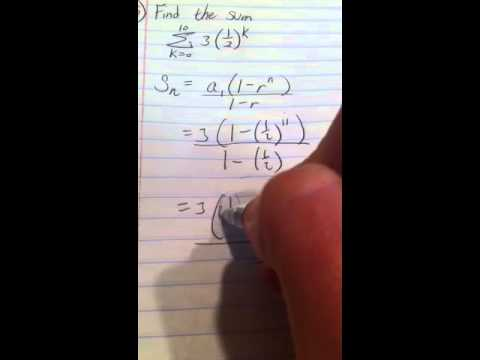 Find the sum of a geometric series in sigma notation