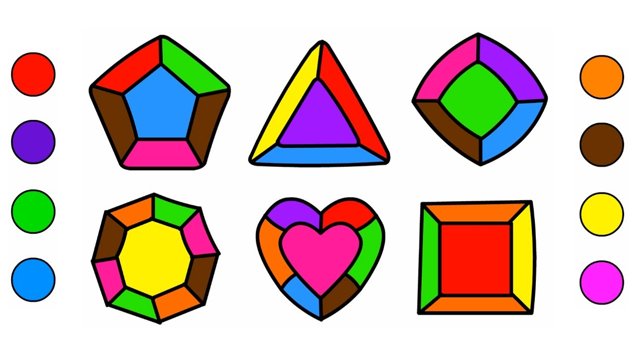 shapes coloring pages magic colored crystals drawing and art