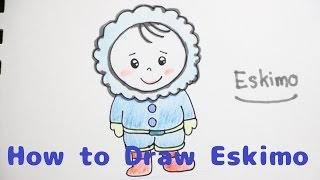 How to draw a Eskimo for Kids : Step By Step