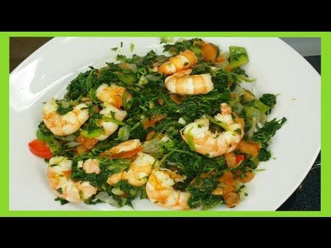 recette:-Épinards-sauté-aux-crevettes-👌-👍