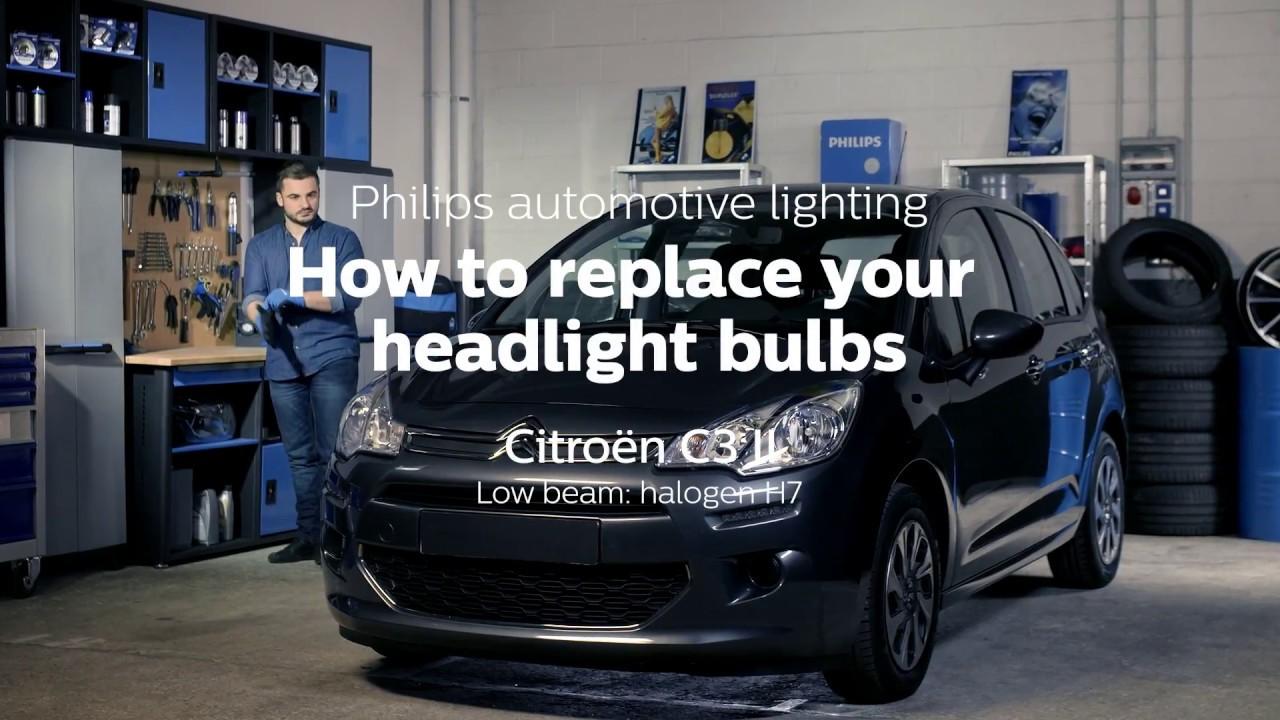 how to replace citroen c3 headlight bulbs