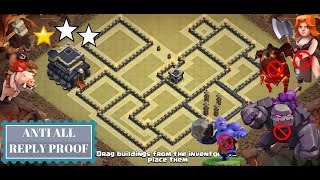 Best TH 9 Anti 3 Star War Base 2017 (Anti All Combo) | Clash of Clans | 3 Attack Defense Replay