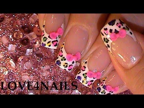 Como Decorar Sus Uñas Con Moños 3 D Arcoiris Leopardo Youtube