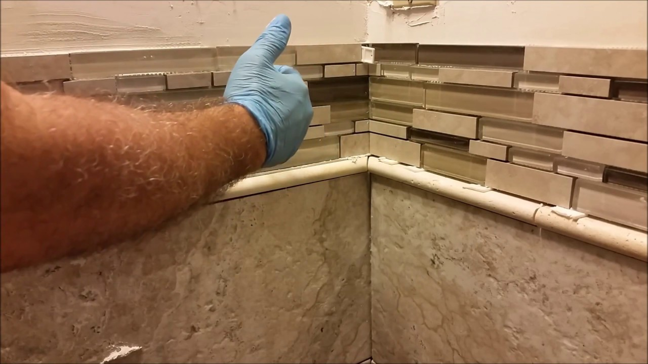 How to Install Glass Mosaic Tile in bathroom shower - Part ...